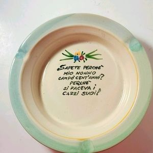 Vintage Italian Poetry on an Ashtray, Trinket Dish
